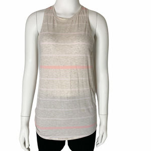 Lululemon All Tied Up Tank Oatmeal Pink Striped 6